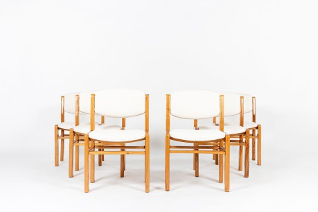 Chairs in elm with Maison Thevenon terry fabric 1980 set de 6