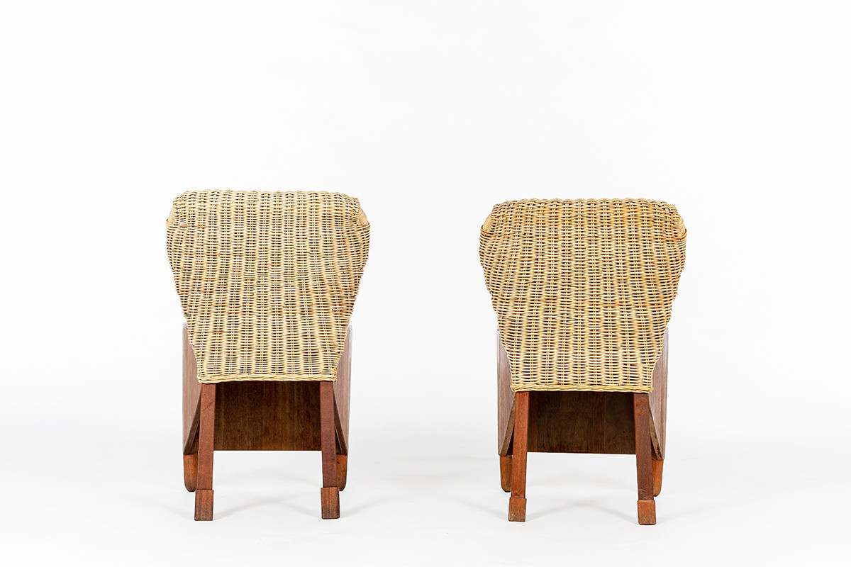Chairs in mahogany and woven rattan 1950 set of 2