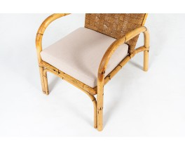Armchairs in rattan, rope and linen 1950 set of 2