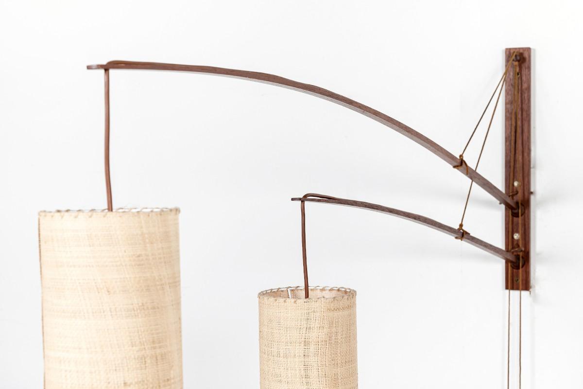 Rupprecht Skrip wall lamp 2 arms in teak and raffia lamshade edition Skrip Leuchten 1950