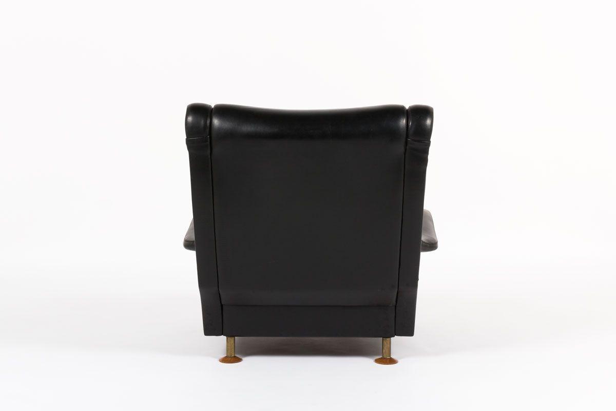 Fauteuil Marco Zanuso modele Regent en skai noir pieds bois edition Arflex 1960