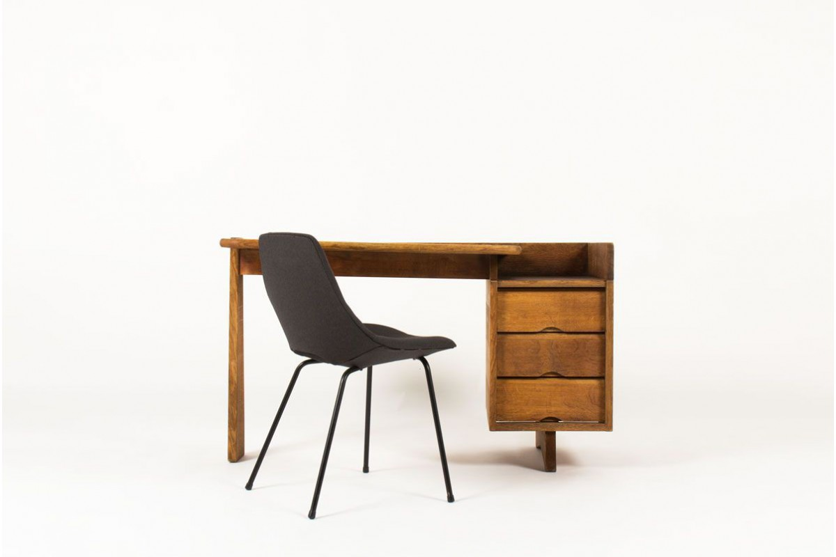 Bureau Guillerme & Chambron en chene modele etudiant edition Votre Maison 1960