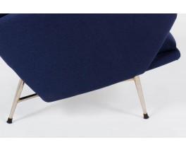 Fauteuils Guy Besnard tissu bleu edition Guy Besnard & Cie 1960 set de 2