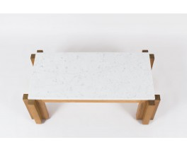 Table basse rectangulaire en frene massif et marbre de Carrare blanc 1950