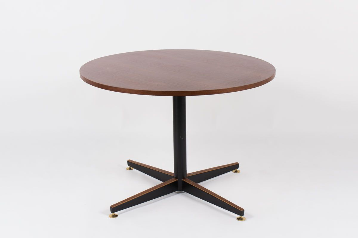 Table ronde en acajou design italien 4 personnes 1950