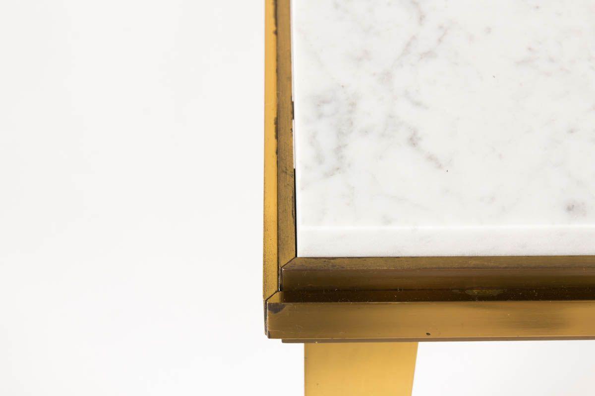 Table basse laiton et marbre de Carrare 1950