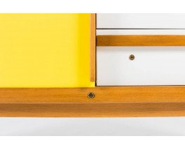 Commode Andre Sornay laque blanche et jaune 1950