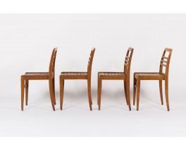 Chaises Rene Gabriel modele empilable en hetre massif 1950 set de 4