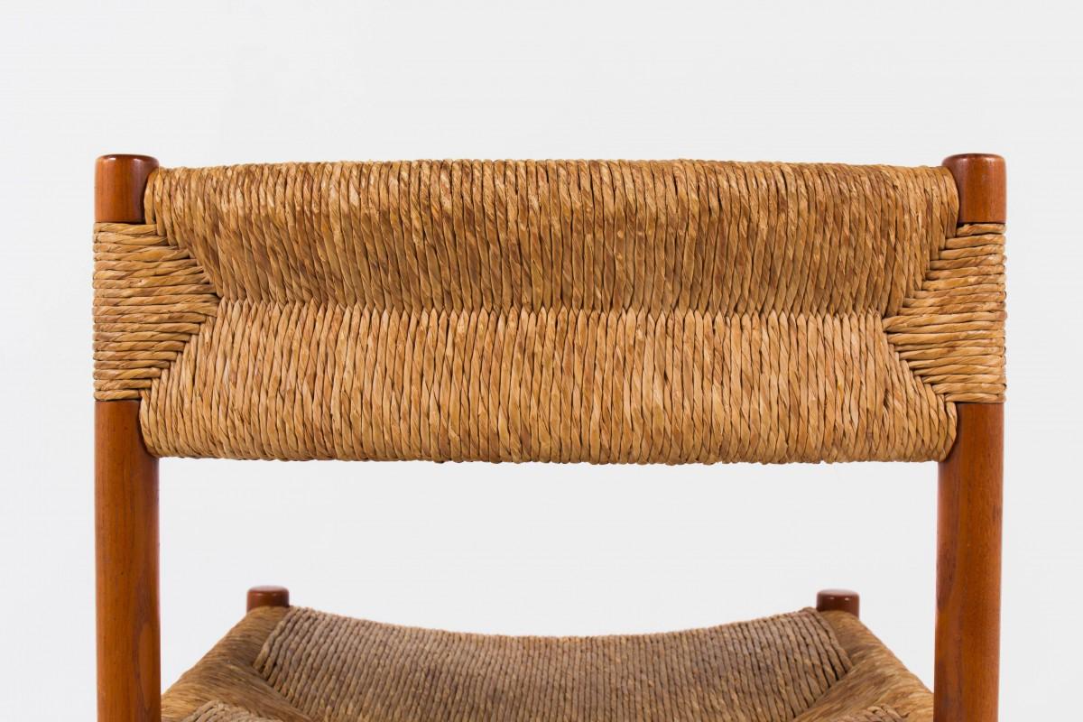 Chaises modele Dordogne en frene teinte et paille edition Sentou 1950 set de 6