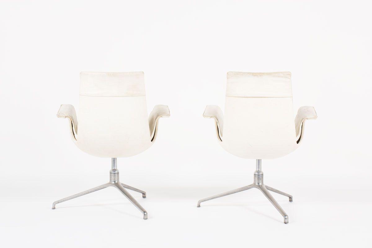 Fauteuils Preben Fabricius et Jorge Kastholm modele 6772 en cuir blanc edition Kill International 1960 set de 2