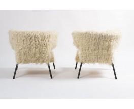 Fauteuils a oreille tissu en laine poil blanc long 1960 set de 2